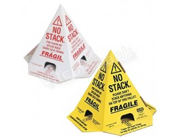 No Stack Pallet Cones 8 x 8 x 10 Yellow/Black Tri-Lingual : English, Spanish & French (50/case)
