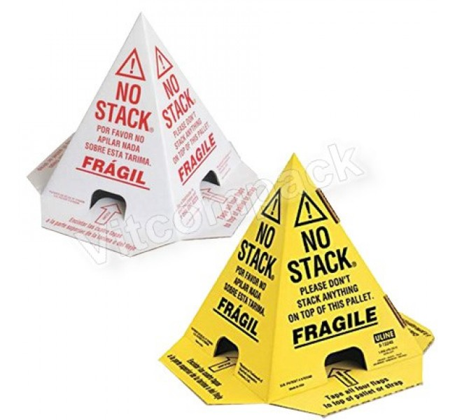 No Stack Pallet Cones 8 x 8 x 10 White/Red Tri-Lingual : English, Spanish & French (50/case)